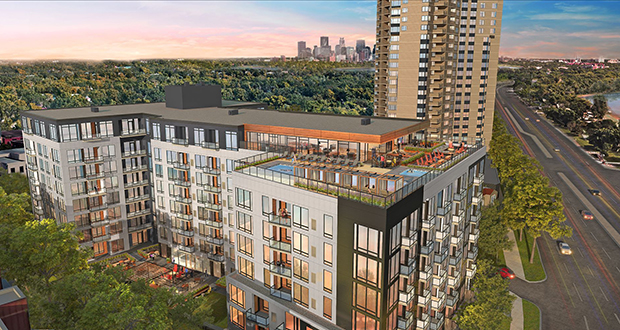 The Twin Cities saw permits for 421 new multifamily housing units in February, including this 200-unit LakeHaus apartment complex at 3100 W. Lake St. in Minneapolis. (Submitted rendering: Brickstone)