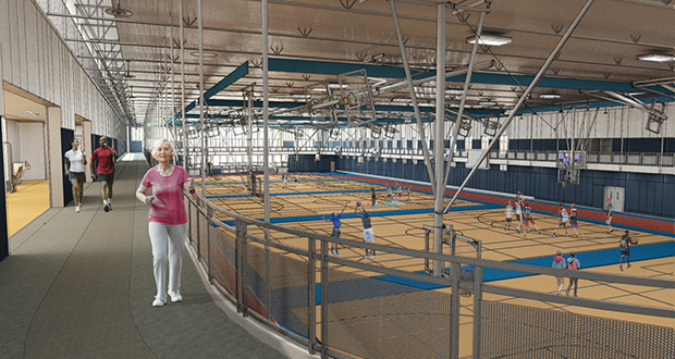 A signature feature of the Orono Activities Center is the building's elevated 9-foot-wide walking track, which looks down at the athletic courts. (Submitted rendering)