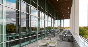 Prime Therapeutics employees can get a view of a lake and a public nature area from a deck on the back of the company's new headquarters building at 2900 Ames Crossing Road in Eagan. (Submitted photo: Prime Therapeutics)