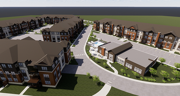 The Rush Creek Apartments Los Angeles-based Gauntlet Private Investments plan to build at 7100 Brockton Lane N. in Maple Grove will be entirely market rate. (Submitted illustration: Kaas Wilson Architects)