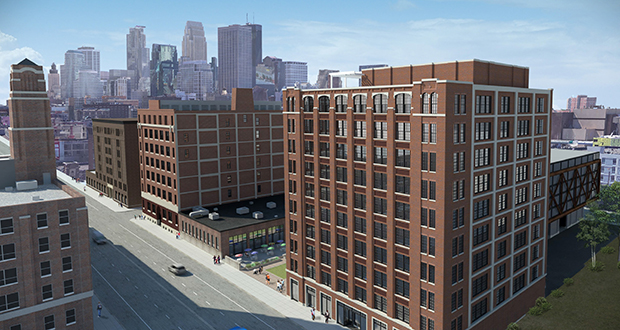 WeWork is joining the tenant lineup at The Nordic at 729 Washington Ave. N. in Minneapolis. Digital marketing agency Ovative/group is the other major tenant in the building with a 30,000-square-foot space. (Submitted illustration: United Properties)