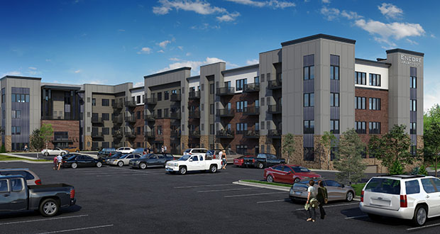 Forest Lake-based Norhart plans to begin construction this spring on this 91-unit Encore apartment building at 1005 Fourth St. SW in Forest Lake. (Submitted rendering: Norhart)