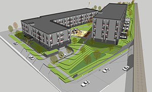 """The Hook & Ladder apartments planned for 2212, 2316 and 2320 Jefferson St. NE in Minneapolis will have one conventional apartment building and another built to """"passive house"""" energy standards. (Submitted illustration: LHB Architects)"""