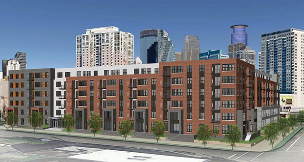 Minneapolis issued permits for 504 new housing units in March, including this 240-unit apartment building under construction at 1400 Park Ave. S.  (Submitted rendering: BKV Group)