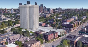 A conceptual rendering shows a 20-plus-story apartment tower soaring on a 2.5-acre site at 1926 Lyndale Avenue S. in Minneapolis that Vision Loss Resources is seeking to sell to a developer. (Submitted illustration: Cushman & Wakefield)