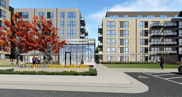 A pair of senior housing buildings Swervo Development and Lupe Development plan to build at 2800 Wayzata Blvd. in Minneapolis will share the site with an office building and, eventually, a 72-unit assisted-living facility. (Submitted illustration: Urbanworks)