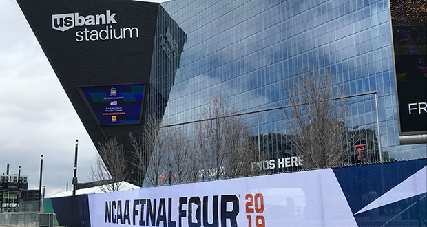 March was crunch time for U.S. Bank Stadium and its contractors. In the past 30 days or so, crews put in extra seating, hung a 140,000-pound scoreboard 100 feet above the center court area, and installed the official NCAA court in a final push to get the stadium ready for hoops. (Staff photo: Brian Johnson)