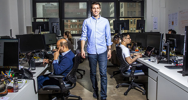 Aaron Shapiro's eureka moment prompted him to found Carver Edison, a fintech startup that provides interest-free loans to workers unable set aside money from their paychecks to buy stock on the cheap. (Bloomberg photo: David Williams)