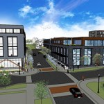 When complete, the Leef Building will sit between to an apartment building Minneapolis-based Artspace is developing and a larger office building Wellington Management plans to build on the other side of Currie Avenue North. (Submitted illustration: Wellington Management)