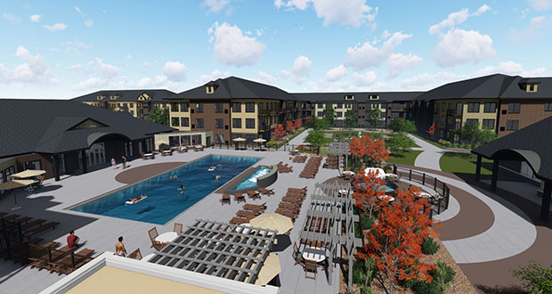 Doran Cos.' The Triple Crown Residences at Canterbury is the first project to break ground in Shakopee's Canterbury Commons. The city is considering changes to its tax increment financing district for the 175-acre site to make it more attractive to larger development proposals. (Submitted image: Canterbury Park)