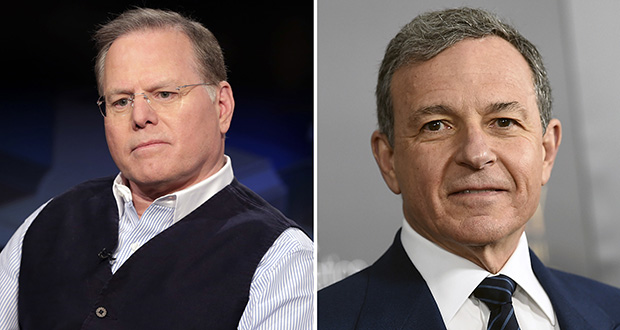 This photo combination shows two of the highest-paid CEOs at big U.S. companies for 2018, as calculated by The Associated Press and Equilar, an executive data firm. From left: David Zaslav, Discovery, $129.5 million and Robert Iger, Walt Disney, $65.6 million. (AP photo)