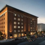 The exterior of the Thresher Square building in Minneapolis kept its historic appearance after being renovated into the Canopy by Hilton. (Submitted illustration: Sherman Associates)