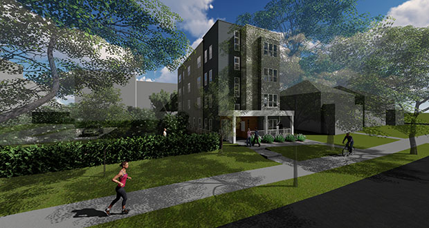 Experts at a recent Metro Transit event in Minneapolis said relaxed parking requirements are encouraging more developments like this 10-unit, four-story apartment building at 2812 Fremont Ave. S. in Minneapolis. (Submitted rendering: DJR)