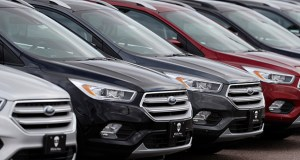 In this Feb. 17 photo, rows of unsold 2019 Escape sports-utility vehicles sit in long rows at a Ford dealership in Broomfield, Colorado. Auto sales fell 1.1% in April, the most since January, after increasing 3.2% in March, the Commerce Department said Wednesday. (AP file photo)