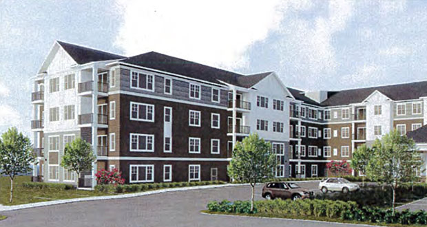 Roers Cos. is planning to build a 120-unit senior housing apartment building and 21 detached villa homes at 3735 and 3855 County Road 101 in Plymouth. (Submitted illustration: Roers)