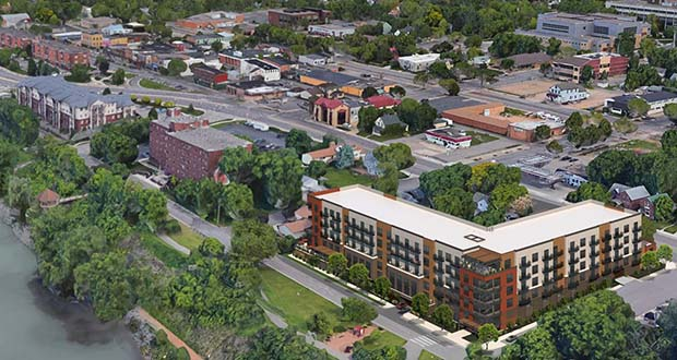 Shakopee approved a TIF district for this mixed-use building at the northeast corner of Scott Street North and First Avenue West in July. Developer Gaughan Cos. is now revising the design after gaining control of three additional properties around which the previous design had to be built. (Submitted image: Momentum Design Group)