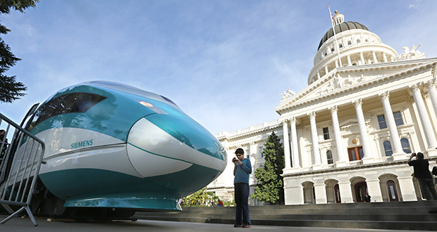 A full-scale mock-up of a high-speed train is displayed Feb. 26, 2015, at the Capitol in Sacramento, California. The Trump administration canceled a $929 million grant for the project, saying that California has failed to show progress and meet requirements under the agreements for the funds. (AP file photo)