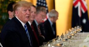 President Donald Trump, left, speaks as he attends a dinner with Australian Prime Minister Scott Morrison in Osaka, Japan. (AP file photo: Susan Walsh)