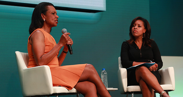 Former U.S. Secretary of State Condoleezza Rice speaks Wednesday at the 2019 KPMG Women's Leadership Summit in Chaska, as NBC News anchor Sheinelle Jones looks on. (Submitted photo: KPMG)