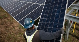 In the renewable power generation business, women account for 13% of the U.S. workforce, according to the Brookings Institution. In this Sept. 5, 2018, photo, a worker installs solar panels at the Connexus Energy Athens Township solar-plus-storage project site in Athens Township, Minnesota. (Bloomberg file photo)
