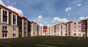 A workforce apartment building planned by Real Estate Equities would bring 204 units of affordable housing to an Eagan site just off Highway 77. (Submitted illustration: Real Estate Equities)