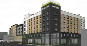 Prospect Park Properties wants to build a 112-room Hilton Home2 Suites extended-stay hotel at 2800 University Ave. SE in Minneapolis, a site that is next to a Hampton Inn the company previously developed. (Submitted illustration: Tushie Montgomery Architects)