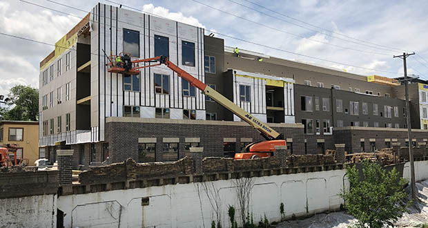 """The design team for this apartment project under construction at 2900 Pleasant Ave. S. in Minneapolis is working on a plan to """"make corrections on the use of improper lumber on the exterior walls,"""" according to the city. (Staff photo)"""