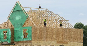 Permits for single-family homes rose by 12% in July, according to the Keystone report. This photo shows construction work on a home in Lennar's Rush Creek Commons development in Maple Grove. (Photo: Bill Klotz/Special to Finance & Commerce)