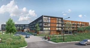 Chicago-based Stoneleigh Cos. has bought the former site of the Island Station power plant at 380 Randolph Ave. in St. Paul for its proposed Waterford Bay apartment project. (Submitted image: BKV Group)
