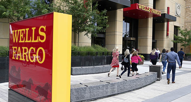 One of the twin Wells Fargo buildings in downtown Minneapolis is shown in this July 10 photo. (AP photo: Jim Mone)