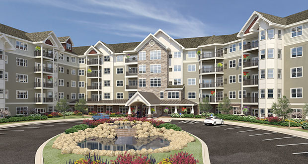 United Properties is starting to build this $35 million Applewood Pointe senior housing cooperative at 16389 and 16397 Glory Lane in Eden Prairie. It will share the site with a workforce apartment building and six townhomes. (File rendering)