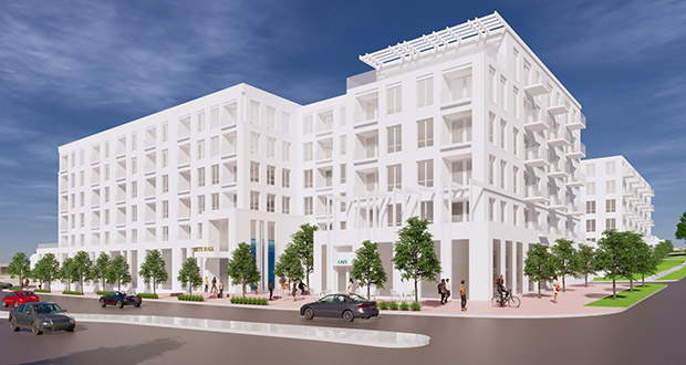 Alatus LLC has proposed to build a mixed-use apartment building at 3989 Central Ave. NE in Columbia Heights that could include space for a new City Hall. (Submitted illustration: ESG Architecture)