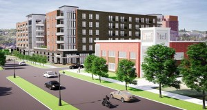 Alatus plans to build 226 apartments over street-level commercial space at 411 and 417 Lexington Parkway North in St. Paul. The property currently belongs to the Amherst H. Wilder Foundation. (Submitted image: ESG)