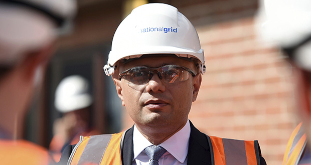 "Britain's Chancellor of the Exchequer Sajid Javid visits the National Grid Training Centre on Friday in Newark, England. Javid conceded that this is a ""challenging"" period for the global economy, but insisted the fundamentals remained ""strong."" (AP photo: Joe Giddens/PA)"