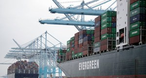 The nation's gross domestic product — the broadest gauge of economic health — grew at a moderate 2% annual rate in the April-June quarter, the Commerce Department reported Thursday. This June 19 photo shows cargo ships docked at the Port of Los Angeles in Los Angeles. (AP file photo)
