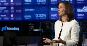 Nasdaq President and CEO Adena Friedman speaks July 31 during an interview at Nasdaq headquarters in New York. (AP Photo: Mary Altaffer)