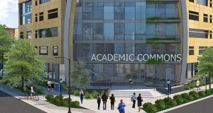 An academic commons building North Central University plans to build at 1401, 1413 and 1425 Chicago Ave. would become a center of student life at the school's downtown Minneapolis campus. (Submitted illustration: DLR Group)
