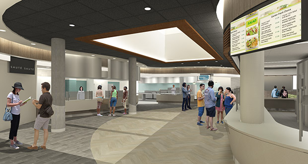 Wide-open public spaces at Pioneer Hall are a big change from the tight corridors that previously ran through the 91-year-old residence hall. (Submitted illustration: TKDA)