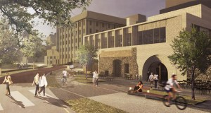 The future Water Works Park Pavilion will feature the limestone walls of the original mill building both inside and out. (Submitted image: HGA Architects)