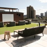 Rafter residents can watch movie on the seventh-floor outdoor terrace. (Staff photo: Matt M. Johnson)