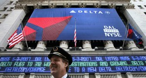 Capt. Jeff Joslin, a Delta Airlines pilot, attends the initial public offering of Delta stock at the New York Stock Exchange on Thursday, May 3, 2007.  (AP file photo)