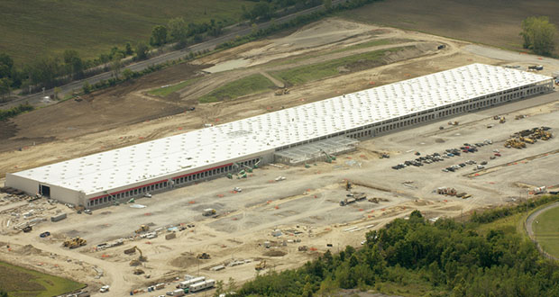A Costco distribution center under construction a few years ago in Belleville, Michigan, near Detroit is similar in design to that presented in a site plan to Owatonna officials. (Submitted photo: CoStar)