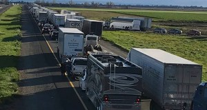 This Feb. 14 photo shows a 7-mile back up on southbound Interstate 5, as it reopened to traffic in Maxwell, California. On Wednesday the Trump administration revoked California's authority to set auto mileage standards, asserting that only the federal government has the power to regulate greenhouse gas emissions and fuel economy. (Photo: Caltrans District 3 via AP)