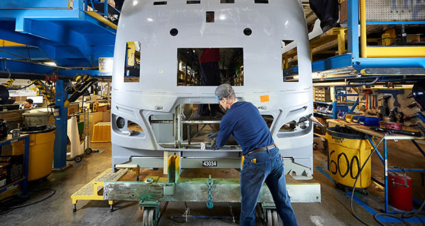 Bus manufacturer New Flyer of America employs about 1,200 workers in Minnesota. The state's manufacturing sector lost jobs in August and is down nearly 2,300 in the past 12 months, the state announced Thursday. (Submitted photo: New Flyer of America)