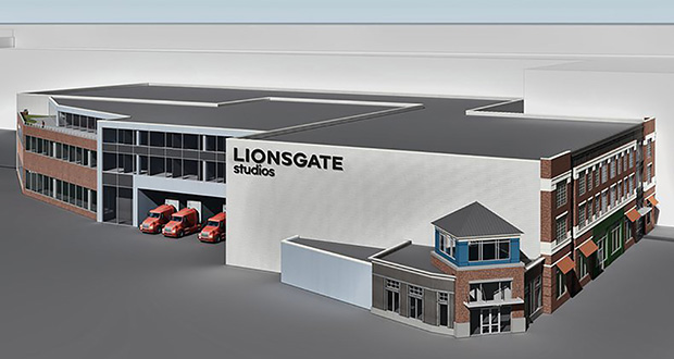 Lions Gate will be the primary tenant in this planned facility in Yonkers, New York. It will include five sound stages, including three occupying 20,000 square feet each, and a fully operational back lot. Construction is scheduled to start in November, with plans to open in the fall of next year. (Submitted rendering: Lions Gate)