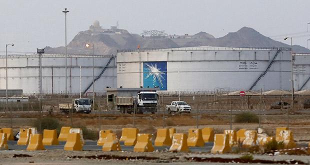 Storage tanks are seen at the North Jiddah bulk plant, an Aramco oil facility in Jiddah, Saudi Arabia, on Sunday. (AP photo)