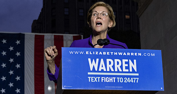 Democratic presidential candidate U.S. Sen. Elizabeth Warren addresses supporters Sept. 16 at a rally in New York. (AP Photo: Craig Ruttle)