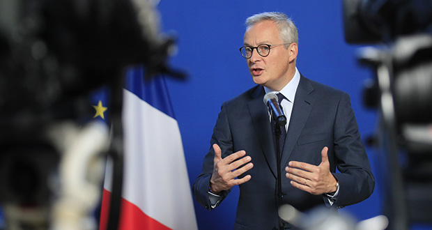 French Finance Minister Bruno gestures as he speaks to the media after a meeting with representatives of the French petrol industry in Paris, Thursday, Sept. 19, 2019. (AP Photo/Michel Euler)