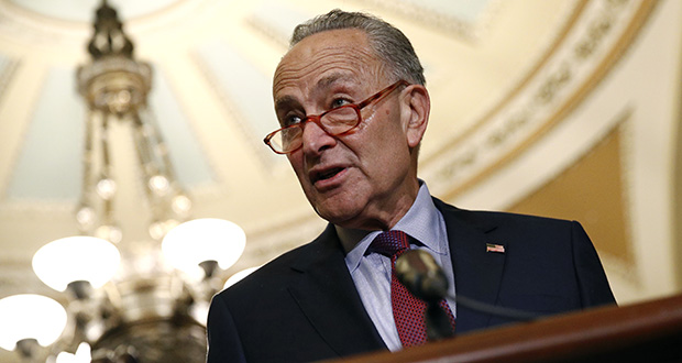 Senate Minority Leader Sen. Chuck Schumer of N.Y. speaks to members of the media following a Senate policy luncheon, Oct. 22, 2019, on Capitol Hill in Washington. (AP Photo/Patrick Semansky)