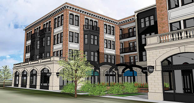 Developer GoodNeighbor Properties believes this 75-unit mixed-use project in Alexandria will be the first offering high-end amenities and rents in the northern Minnesota city. (Submitted image: Tanek)